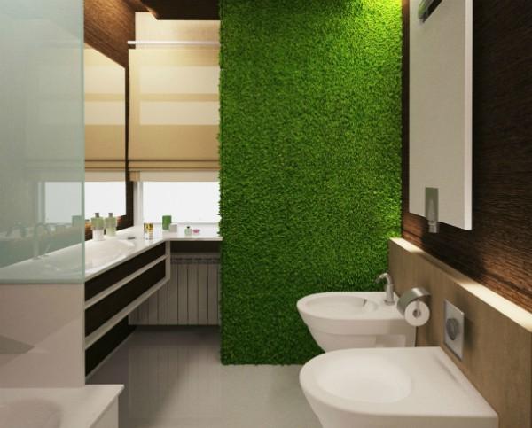 фитостена в интерьере современной ванной