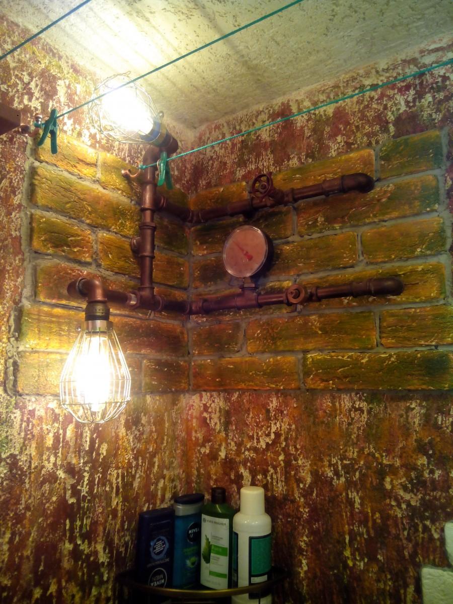 Ванная комната под старину, индустриальный стиль