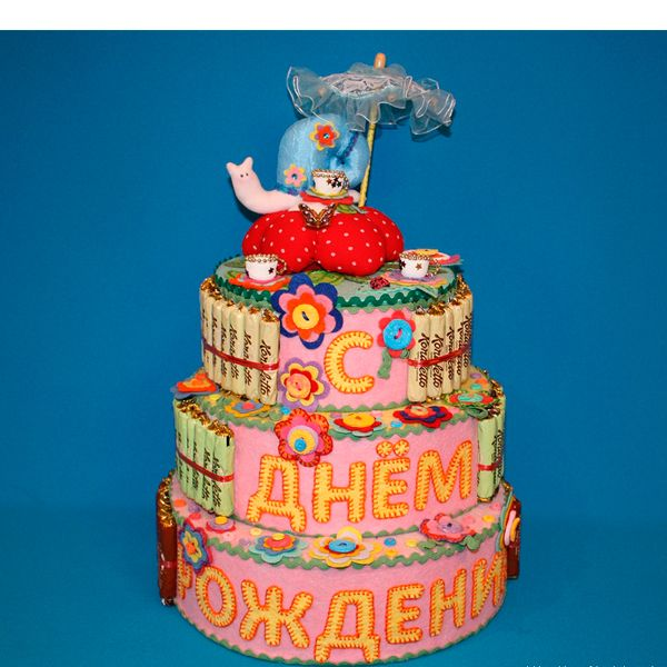 Торт на день рождения из сладостей своими руками