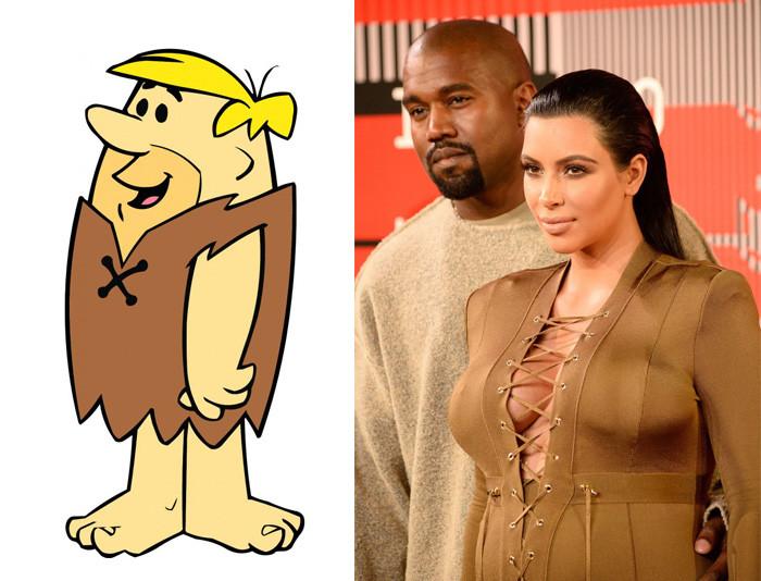 """27. Ким Кардашьян и герой мультфильма """"Флинстоуны"""" вещи, люди, похожие лица, схожесть"""
