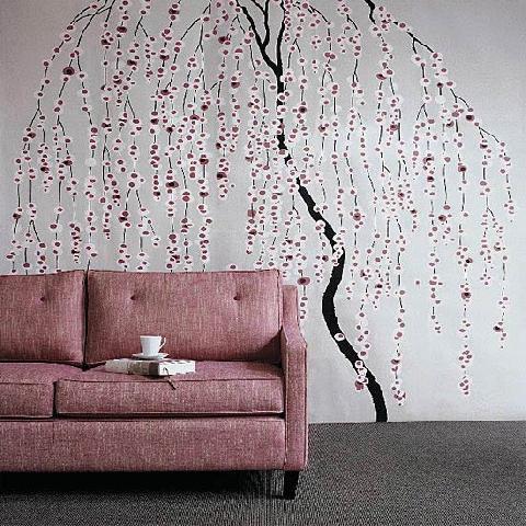 Неповторимый дизайн стен с помощью трафаретов.