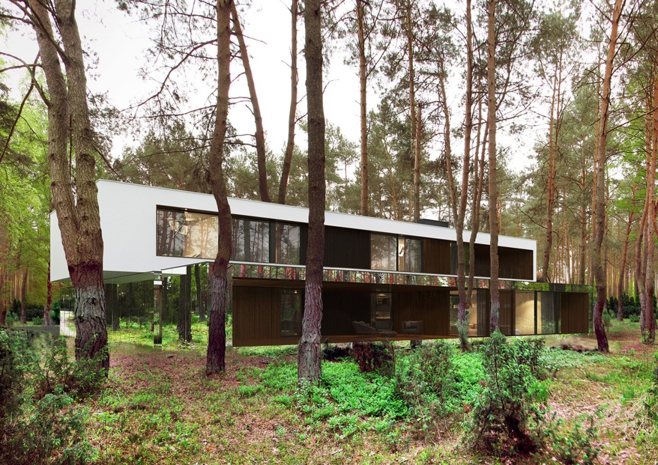 Зеркальный дом, «растворившийся» в лесу