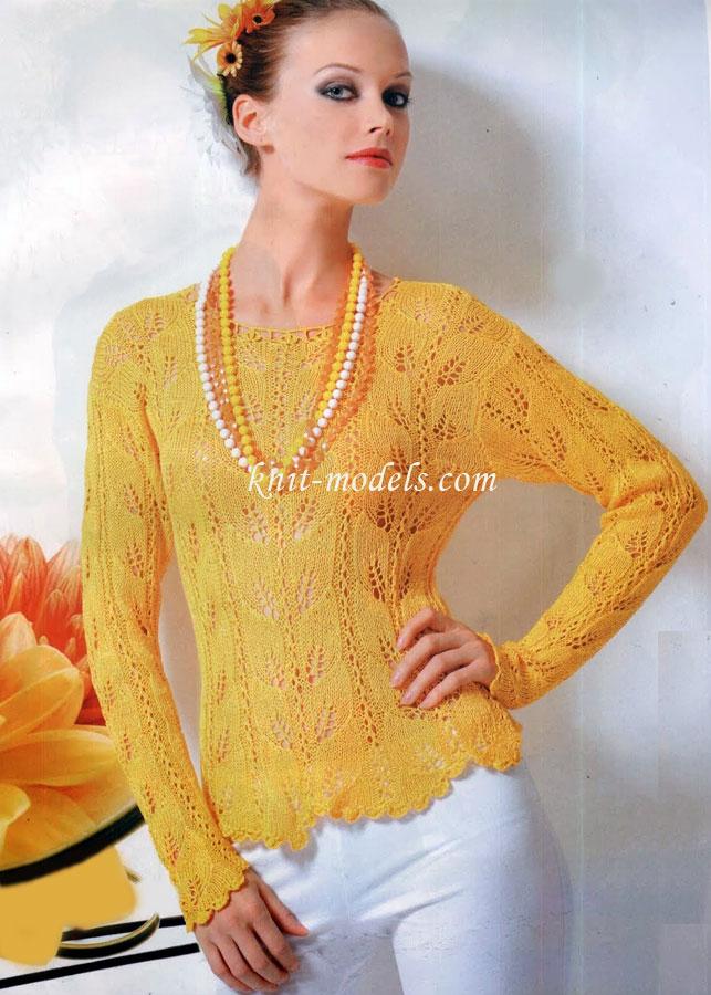 Ажурная блуза вязаная спицами