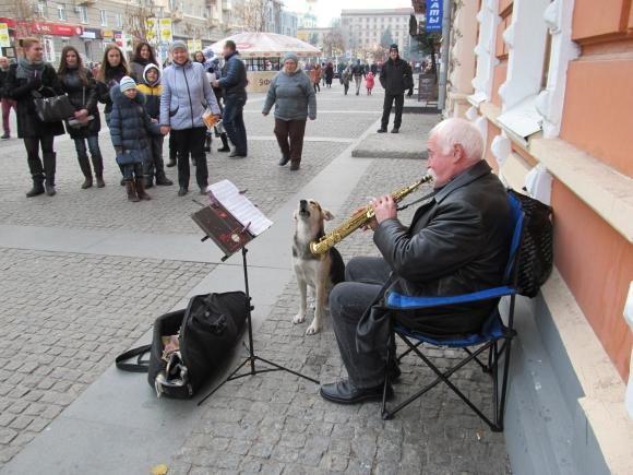 Днепропетровск: уличный музыкант неожиданно обрел напарника - поющего бродячего пса
