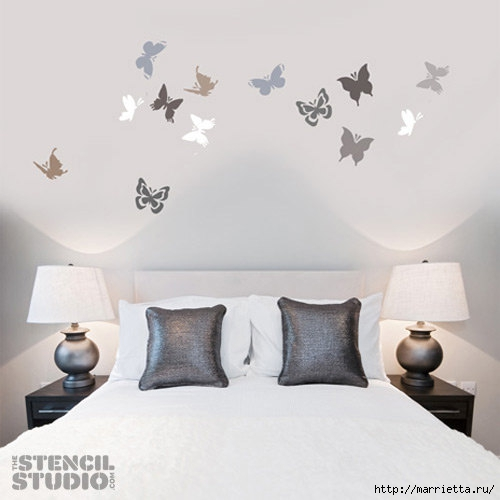 Порхающие бабочки в интерьере. Трафареты для стен и потолка (22) (500x500, 82Kb)