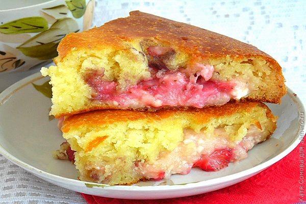 Пирог с творогом и клубникой рецепт пошагово в духовке