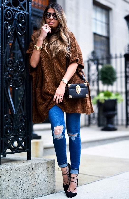 Объёмная вязаная туника крупной вязки, вязаная мода 2016, модные вязаные вещи 2016 (фото 3)