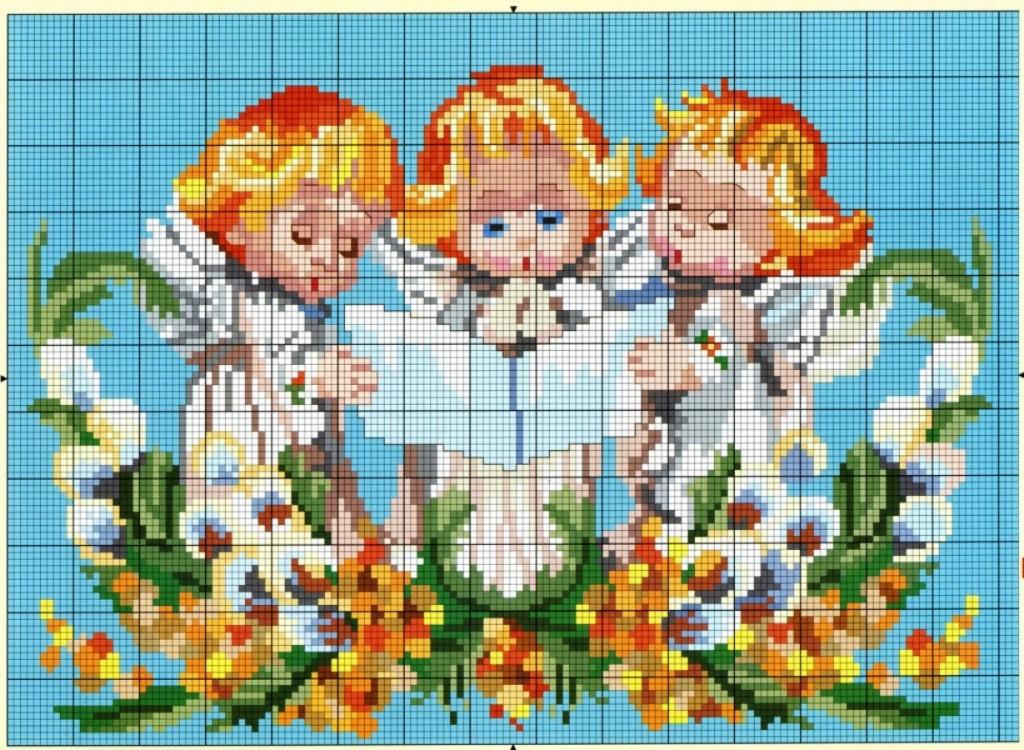 Схема для вышивки с тремя ангелочками 87