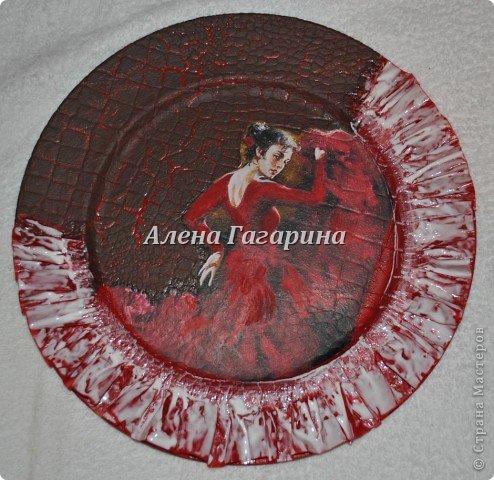 Декор предметов Мастер-класс Декупаж Тарелка Фламенко Бумага фото 16