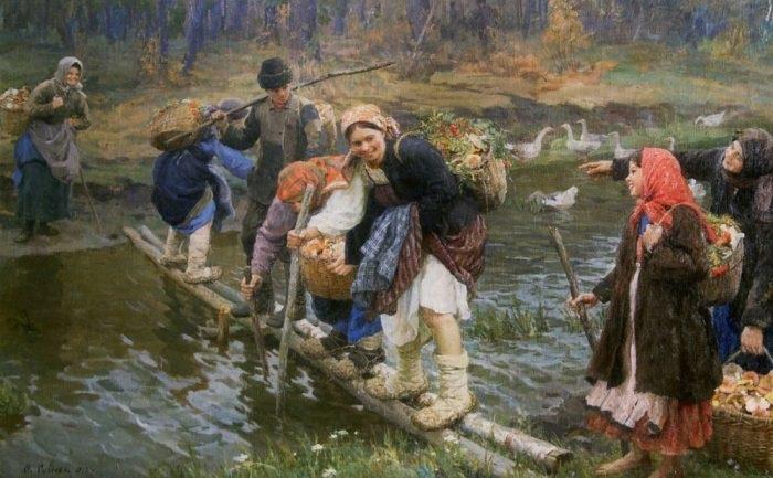 Русская деревня прошлого века на самобытных картинах  Ф.В. Сычкова