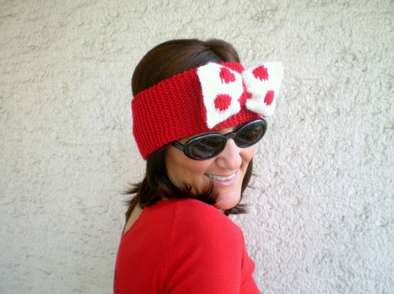 Knitted Bow Headband Oversized Bow Ear warmer in Red, Polka Dot