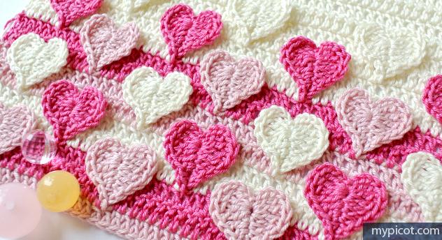 Вязание крючком схемы для пледа сердечки