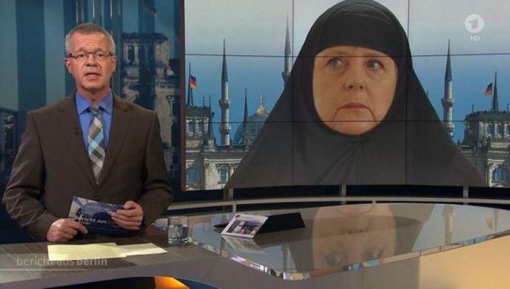 Немецкий телеканал оскандалился, изобразив Меркель в хиджабе