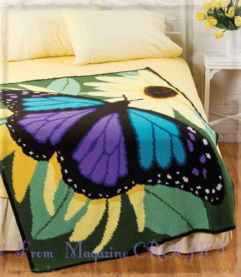 Потрясающий плед Бабочка. Схемы