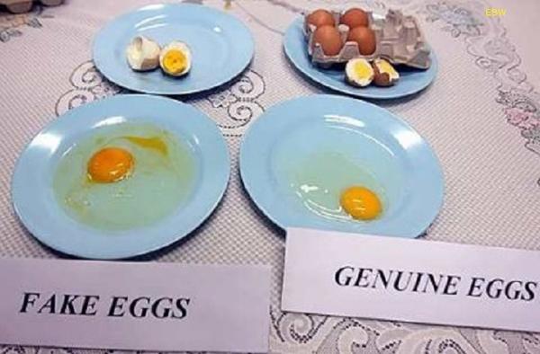 Внешняя схожесть натуральных и поддельных яиц. Слева – искусственные, справа - настоящие