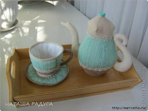 Текстильный сувенир для кухни. Чайник и чашка (1) (520x390, 91Kb)
