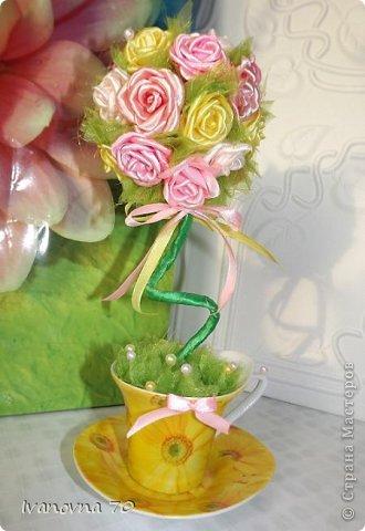 Бонсай топиарий Мастер-класс 8 марта День матери День рождения Цумами Канзаши МК Розовое деревце Клей Ленты Проволока фото 1