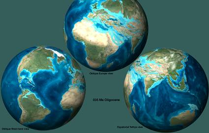 Изменение контуров материков и океанов в олигоцене и неогене (23-1,8 млн. лет назад)
