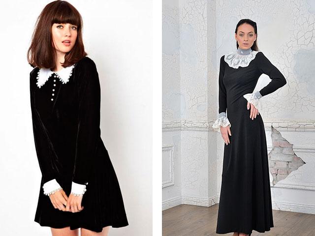 Купить Черное Платье С Белыми Манжетами