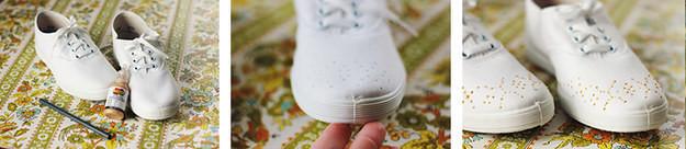 14. Узор краской для ткани кеды, обновление, способ, украшение