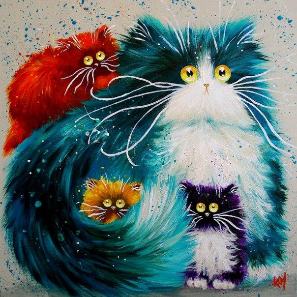 Пушистые коты рисунок
