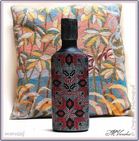 Декор предметов Мастер-класс Роспись По мотивам вышивки Бутылки стеклянные фото 1