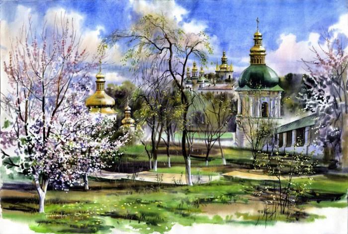 городской пейзаж акварель Сергей Брандт-05