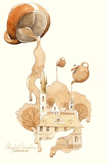 ЧАЙНЫЕ УЗОРЫ.5 марта - День пейзажей, нарисованных чаем
