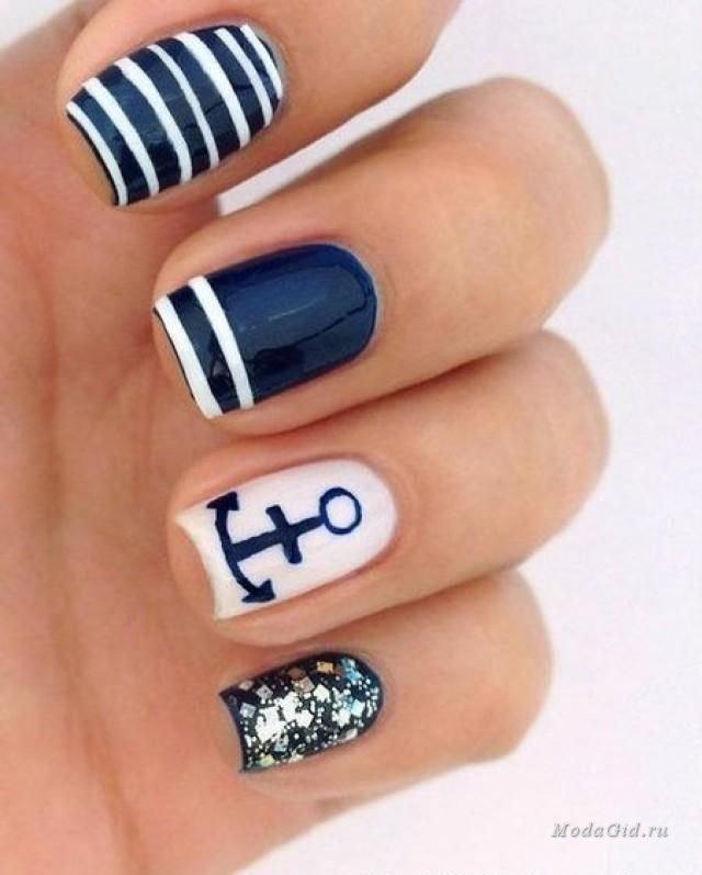 фото ногти с якорем