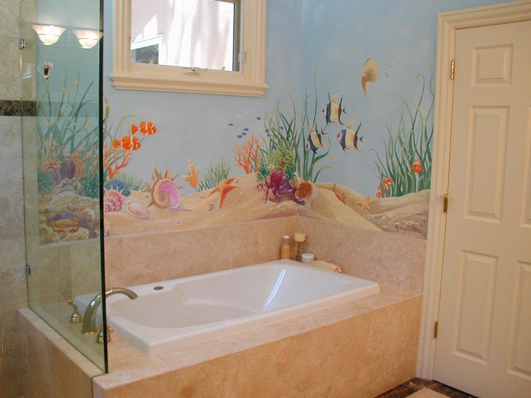Роспись красками для ванной комнаты