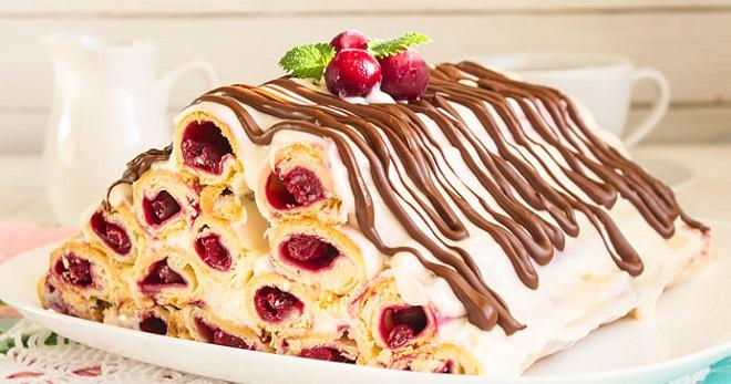Торт Монастырская изба с вишней - лучшие рецепты десерта из разного теста и с сочной начинкой