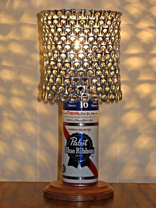 лампа - поделки из пивных банок