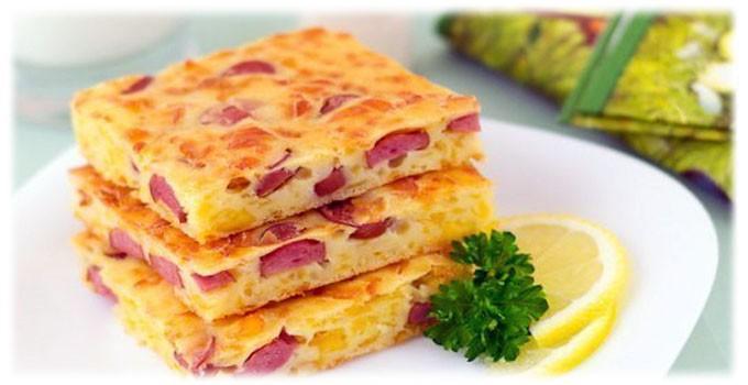 4. Пирог с сыром и сосисками еда, своими руками, сделай сам