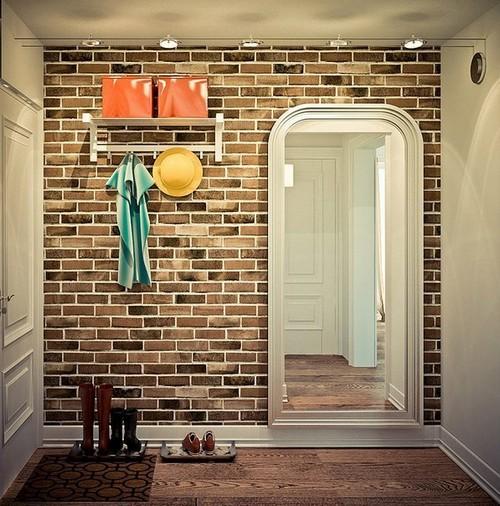 Обои кирпичная стена в коридоре фото