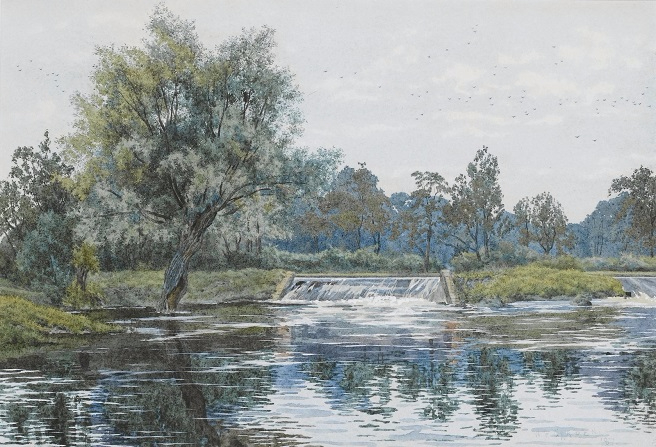 Запруда на реке Аус около Хемингфорд-Грей (A weir on the Ouse near Hemingford Grey). 1887 (656x447, 339Kb)