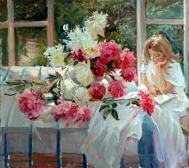 девушка книга букет цветы