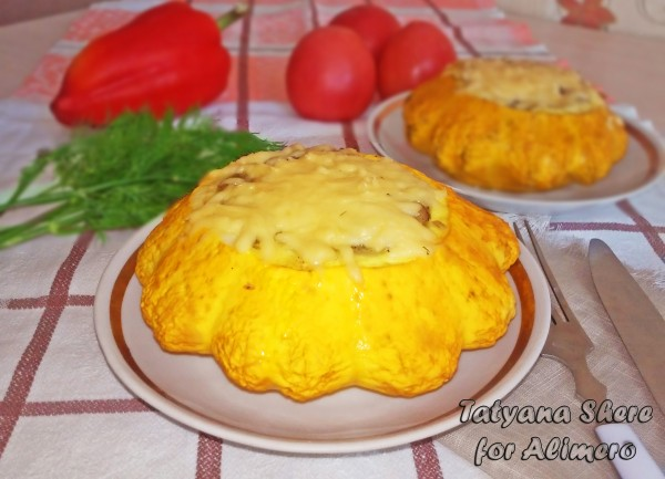 Патиссоны с гречкой и сыром