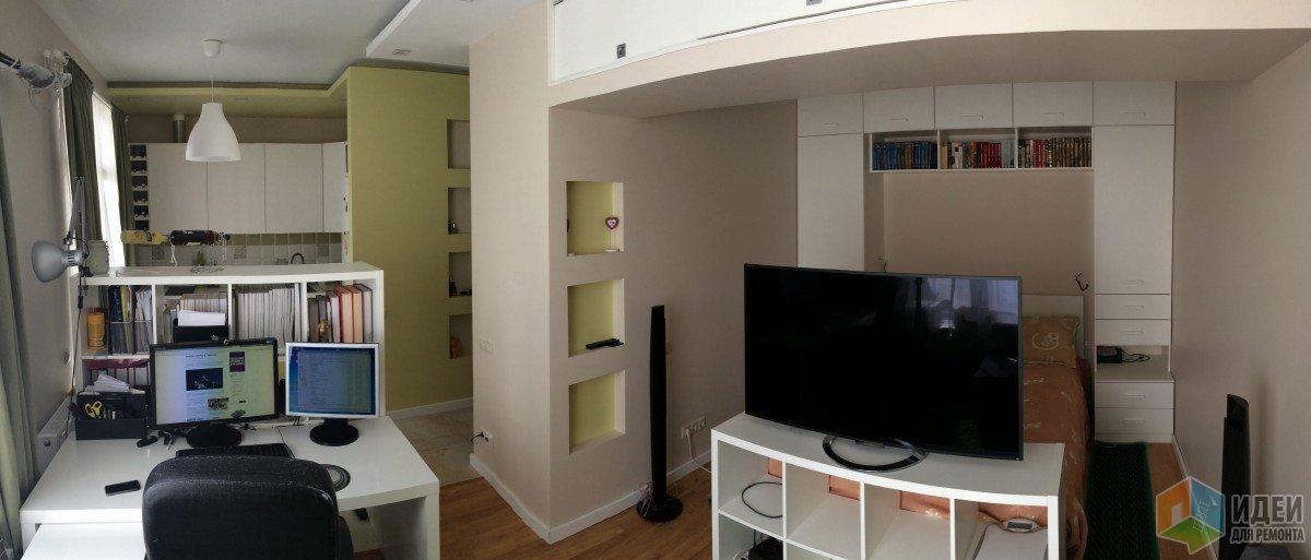 Квартира-студия перепланировка, зонирование студии кухня спальня