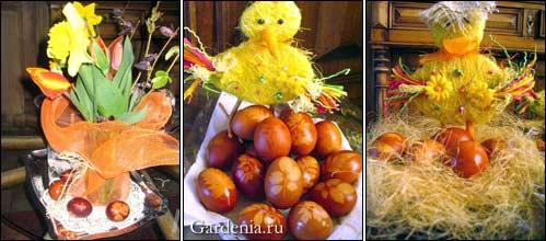 Пасхальные яйца с оттиском живых растений