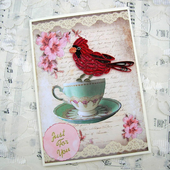 Paper Quilled Red Cardinal BIRD on a Teacup Handmade Greeting Card by Enchanted Quilling on Etsy