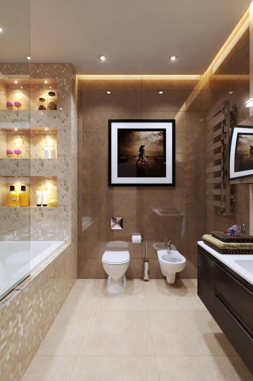 коричневая глянцевая плитка в ванной