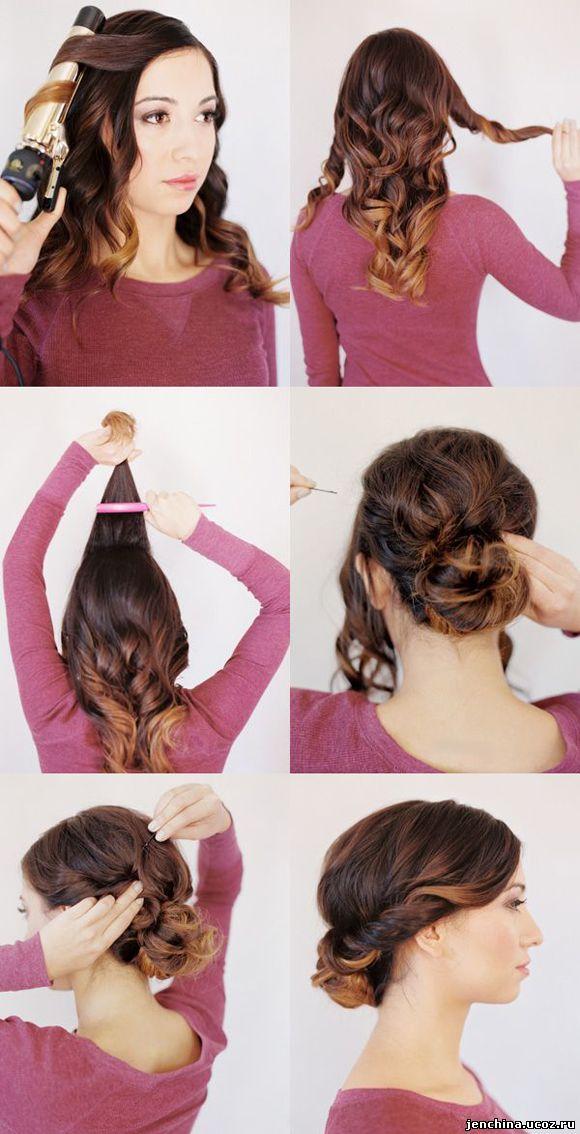 Пучки на волосы средней длины пошаговые
