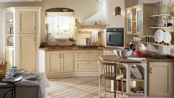 Угловой вариант кухни в стиле прованс
