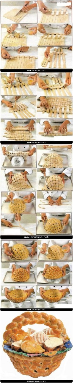 Cesto di #pane al forno completamente commestibile #Edible large basket, #bread, #tutorial: