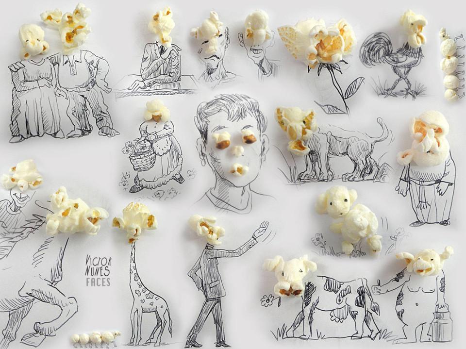 Виктор Нунес - Рисунки из попкорна часть 2