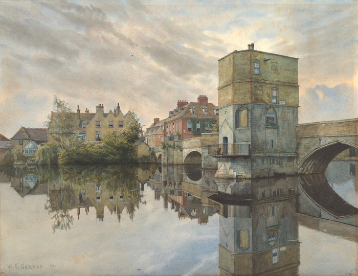 Мост в Сент-Айвс, Хантингдоншир (St. Ives Bridge, St. Ives, Huntingdonshire). 1895 (700x540, 413Kb)