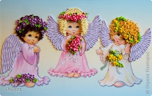 Картина, панно Квиллинг: Ангелочки Бумажные полосы День рождения. Фото 1