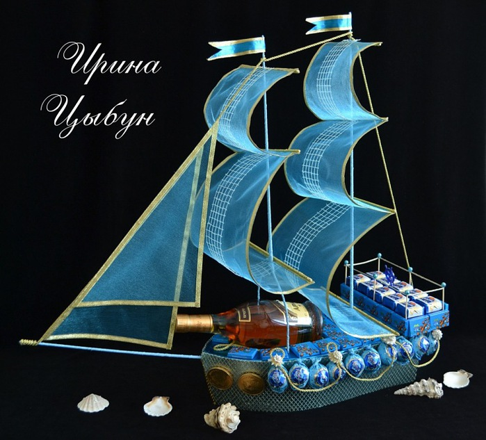 Корабль из конфет с бутылкой своими руками мастер класс