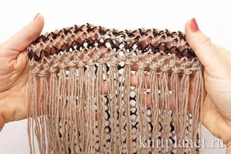 Как сделать бахрому на шарфе