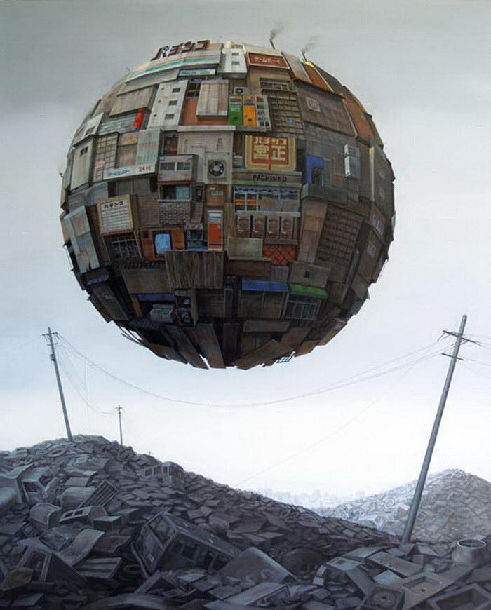 Апокалиптические картины Sashie Masakatsu. Японский иллюстратор показывает влияние стихийных действий на свою родину